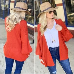 Rust open front cardigan with Pockets